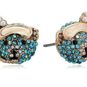 Betsey Johnson Blue Scuba Bear Stud Earrings